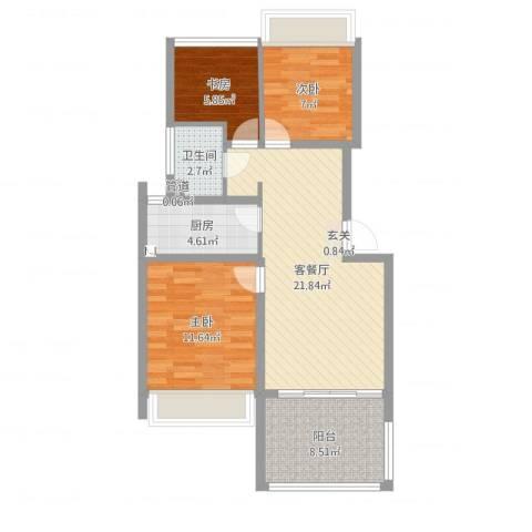 宝宸怡景园3室2厅1卫1厨78.00㎡户型图