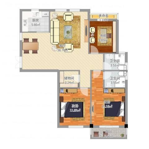 联丰一品园3室1厅2卫1厨133.00㎡户型图