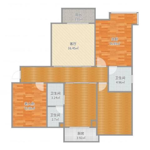 金域首府2室1厅3卫1厨130.00㎡户型图