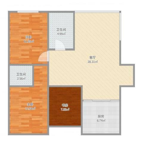 万达江畔人家3室1厅2卫1厨90.00㎡户型图