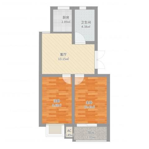 文昌北苑2室1厅1卫1厨65.00㎡户型图