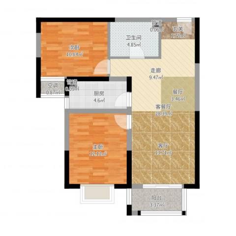 隆昊昊天园2室2厅1卫1厨81.00㎡户型图