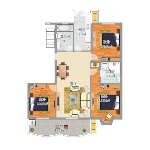 怡江春色3室1厅2卫1厨137.00㎡户型图