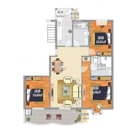 怡江春色3室1厅2卫1厨151.00㎡户型图