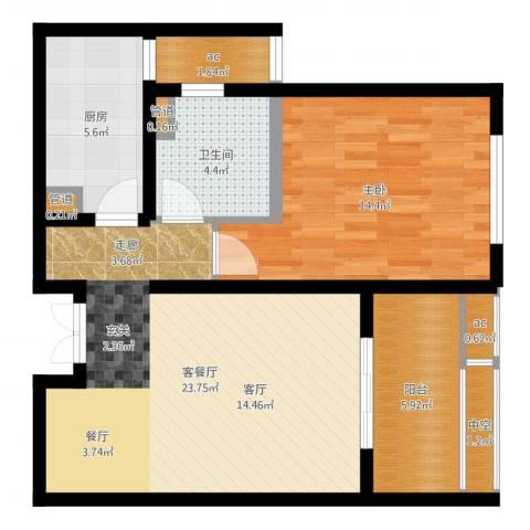中科苑1室2厅1卫1厨73.00㎡户型图