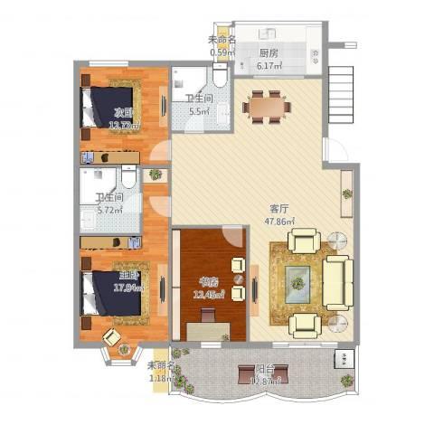 怡江春色3室1厅2卫1厨166.00㎡户型图