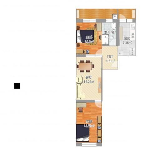 华宁北里2室1厅1卫1厨78.00㎡户型图