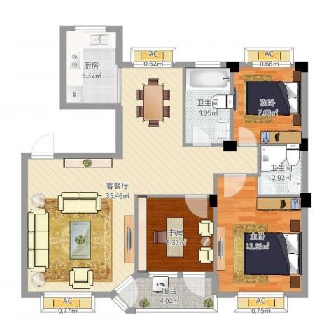 水尚阑珊3室2厅2卫1厨106.00㎡户型图