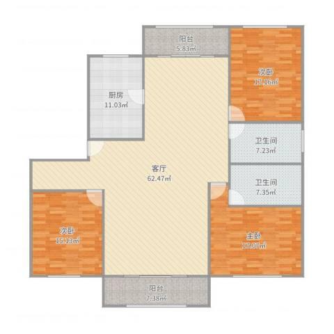 高桥新城荷兰新城3室1厅2卫1厨188.00㎡户型图