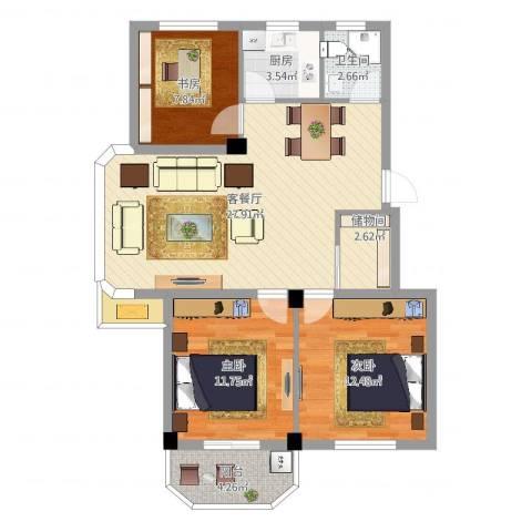 水尚阑珊3室2厅1卫1厨93.00㎡户型图