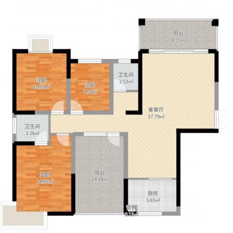 金霞湘绣园3室2厅2卫1厨130.00㎡户型图