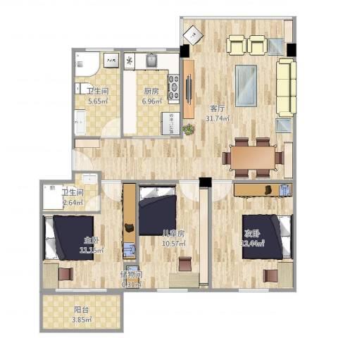 银苑花园3室1厅2卫1厨107.00㎡户型图