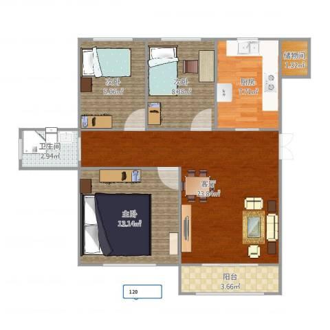 金海湾3室1厅1卫1厨86.00㎡户型图