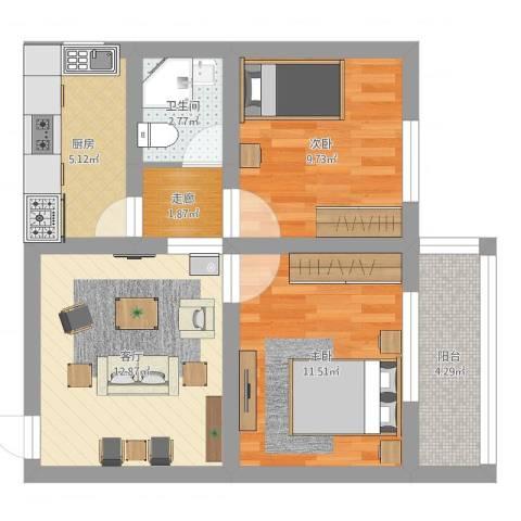 蒲安西里2室1厅1卫1厨60.00㎡户型图