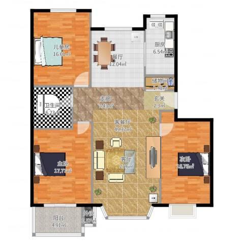 水云间蓝湾3室2厅1卫1厨150.00㎡户型图
