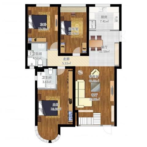 郦城国际2室2厅2卫1厨127.00㎡户型图
