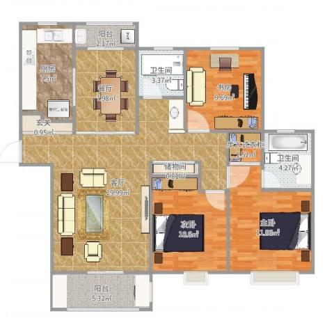 远香舫3室2厅2卫1厨120.00㎡户型图