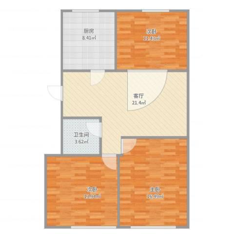 兴隆家园3室1厅1卫1厨80.56㎡户型图