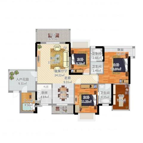 世纪名邸4室2厅3卫1厨144.00㎡户型图