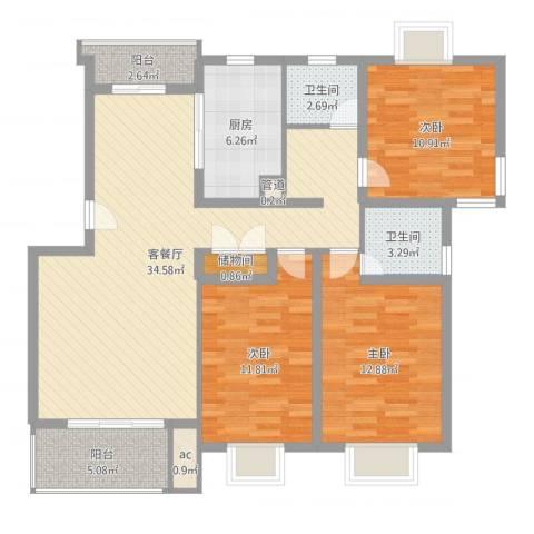 中星海上名庭3室2厅2卫1厨115.00㎡户型图