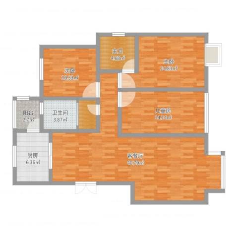 阳光家天下3室2厅2卫1厨125.00㎡户型图