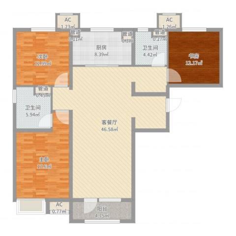润达万科金域蓝湾3室2厅2卫1厨166.00㎡户型图