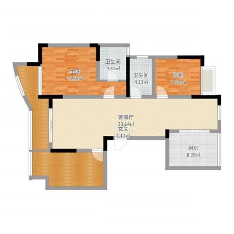 富都豪园2室2厅2卫1厨116.00㎡户型图