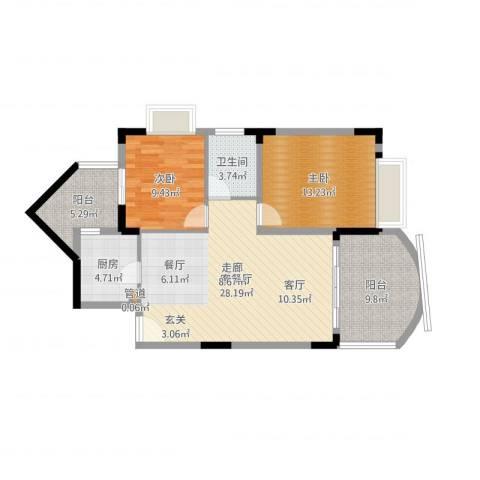 尚阳康城2室2厅1卫1厨93.00㎡户型图