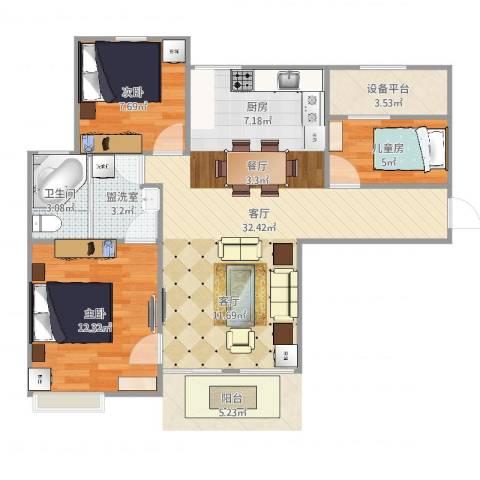 幸福里程3室3厅1卫1厨84.00㎡户型图