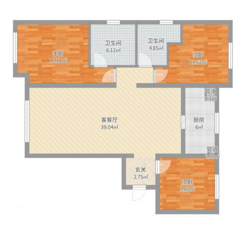华远海蓝城3室2厅4卫1厨116.00㎡户型图
