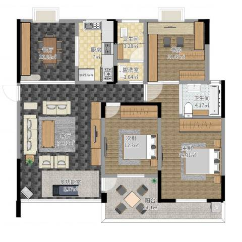 香樟景苑3室4厅2卫1厨144.00㎡户型图