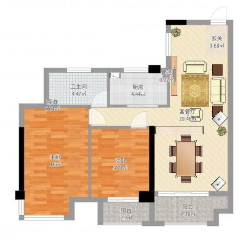 铂金汉宫2室2厅1卫1厨88.00㎡户型图