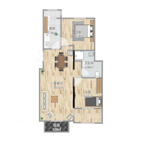 龙隐水庄2室2厅1卫1厨89.00㎡户型图