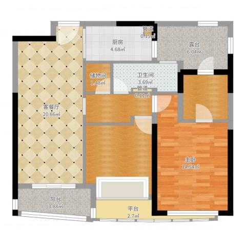 浦东颐景园1室2厅5卫1厨95.00㎡户型图