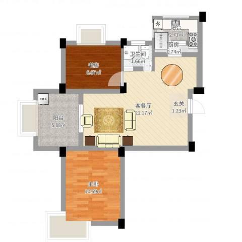 龙隐水庄2室2厅1卫1厨62.00㎡户型图