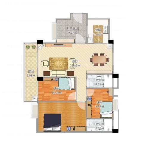 翠湖居2室1厅4卫1厨132.00㎡户型图