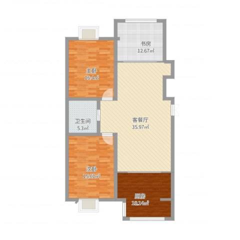 博雅花园3室2厅1卫1厨119.00㎡户型图