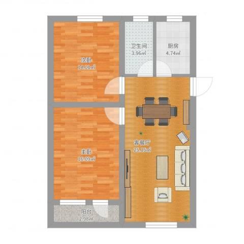 高东新村2室2厅1卫1厨84.00㎡户型图