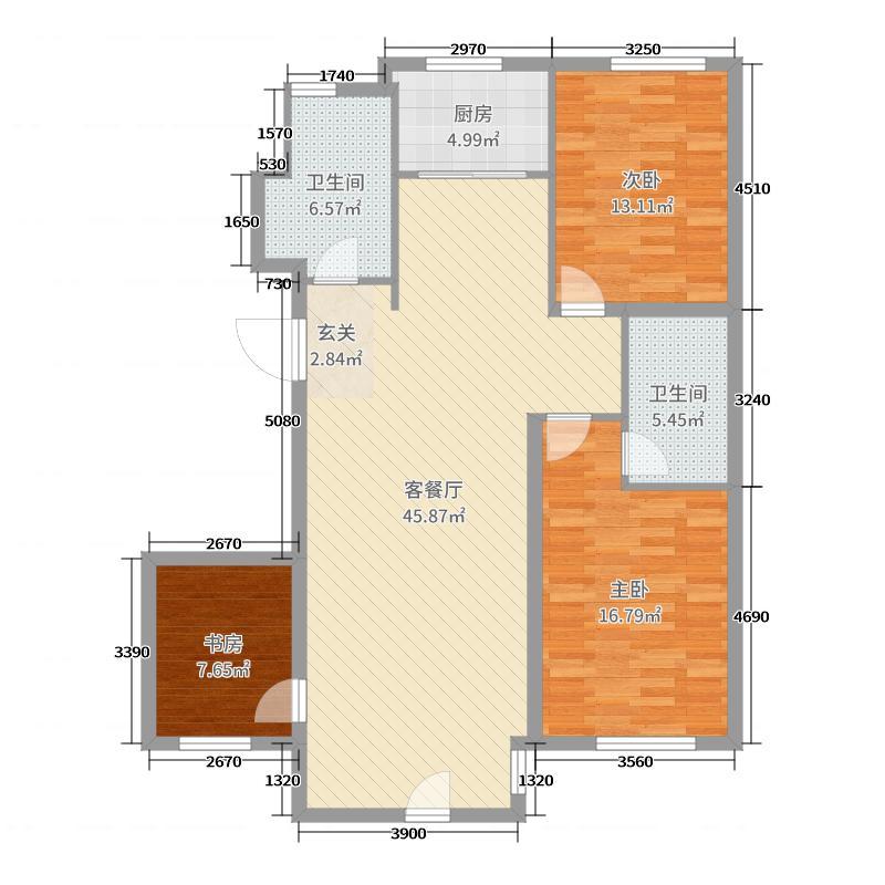 赤峰香格里拉国际城123.82㎡D户型3室2厅1卫1厨