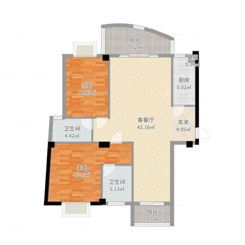 瑞景居2室2厅2卫1厨122.00㎡户型图