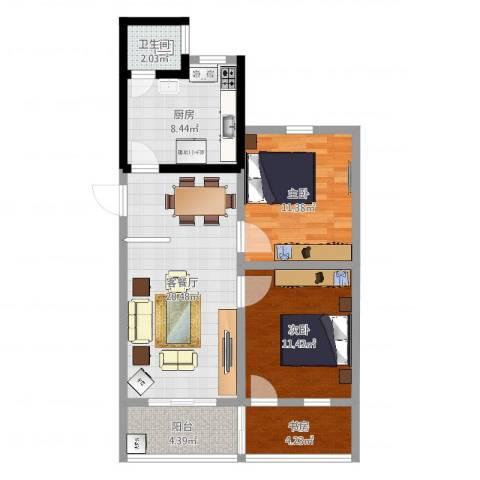 新华园小区3室2厅1卫1厨78.00㎡户型图