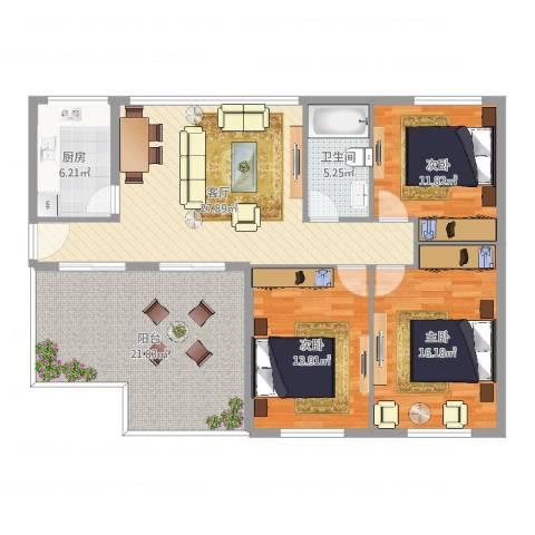海光新都3室1厅1卫1厨129.00㎡户型图