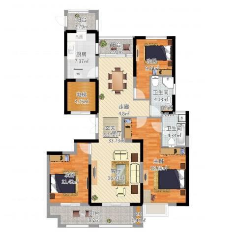 华侨城3室1厅2卫1厨135.00㎡户型图