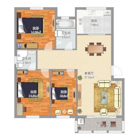 华光城一期3室2厅2卫1厨125.00㎡户型图