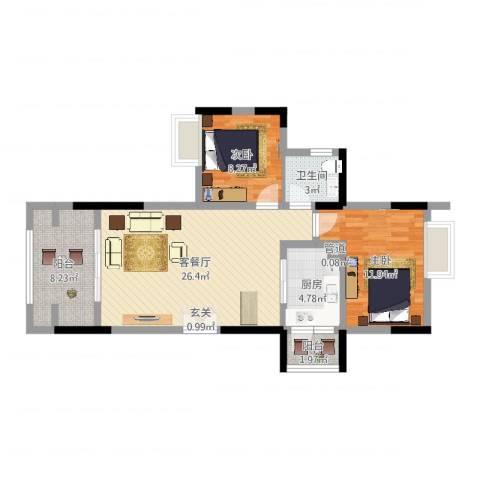 复地山与城2室2厅1卫1厨81.00㎡户型图