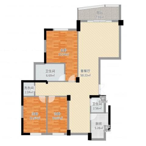 武夷天琴湾3室2厅2卫1厨141.00㎡户型图