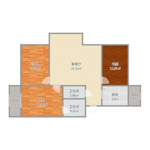 恋日风景3室2厅2卫1厨111.00㎡户型图