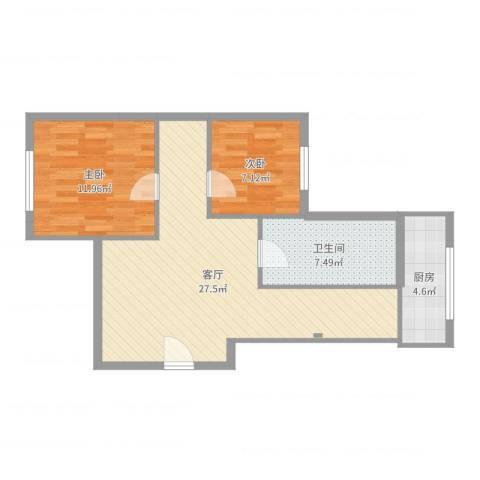 铭熙水岸2室1厅1卫1厨73.00㎡户型图