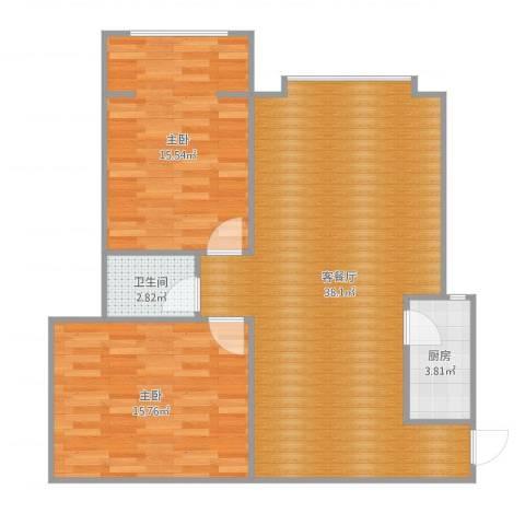 晋州龙头花园27-3-62室2厅1卫1厨95.00㎡户型图