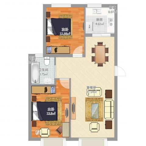 金穗花园2室2厅1卫1厨75.00㎡户型图